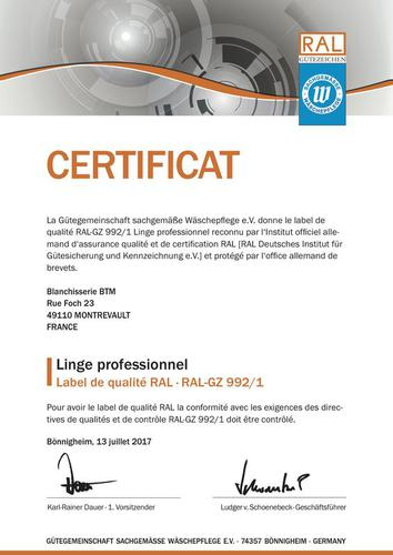 Certification Blanchisserie BTM RAL 992/1